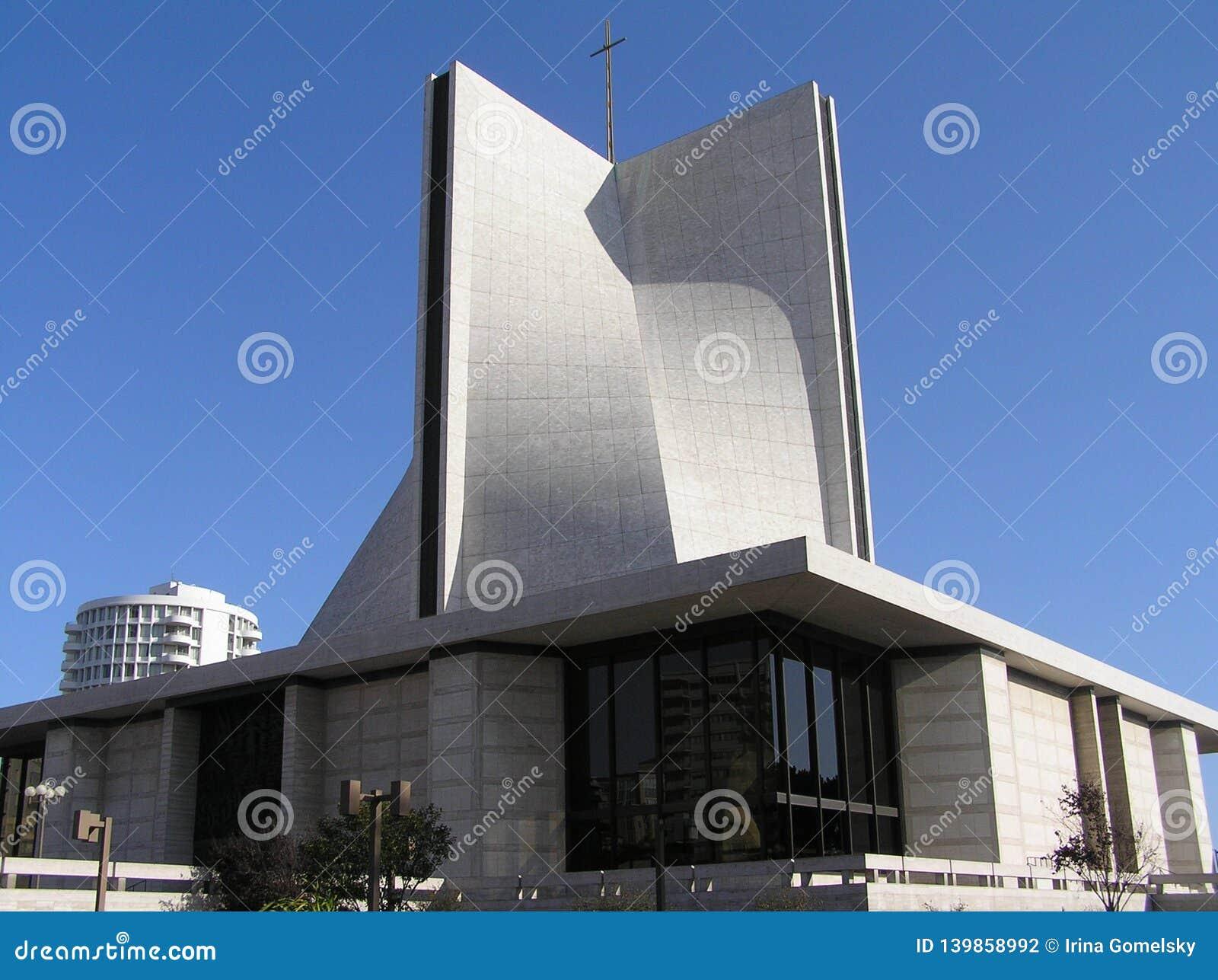 USA San Francisco, Kalifornien - Oktober 2008 Den moderiktiga byggnaden av domkyrkan av antagandet av den välsignade oskulden Mar