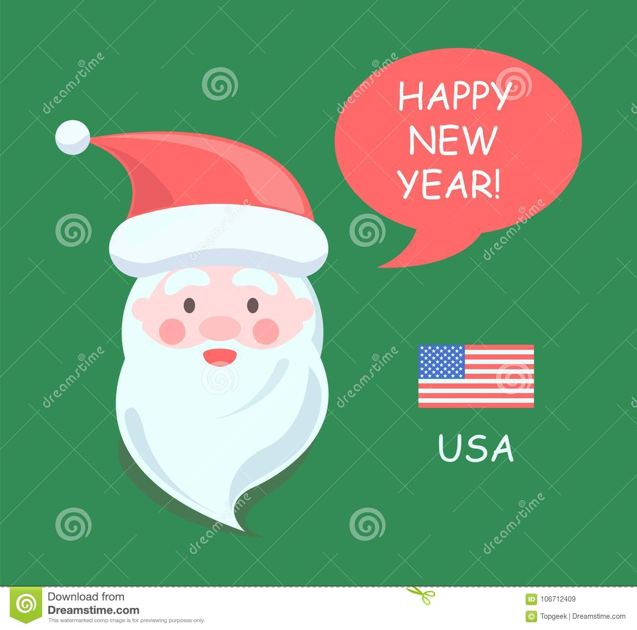 usa santa claus happy new year vector illustration
