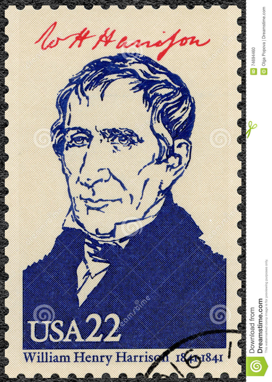 USA - 1986: shows portrait William Henry Harrison 1773-1841, ninth President of the USA, series Presidents of USA