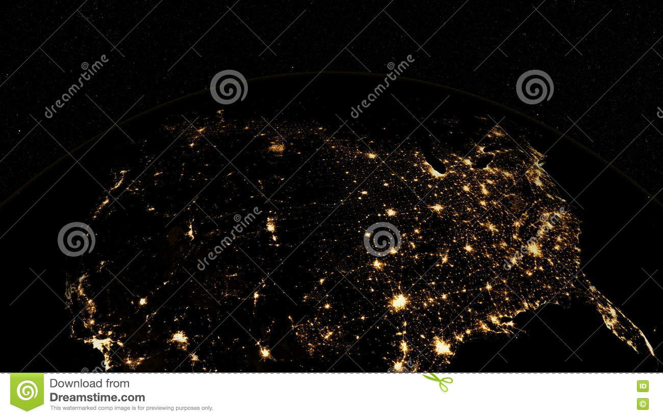 City Lights Of The United States Natural Hazards Rendering - Us night map