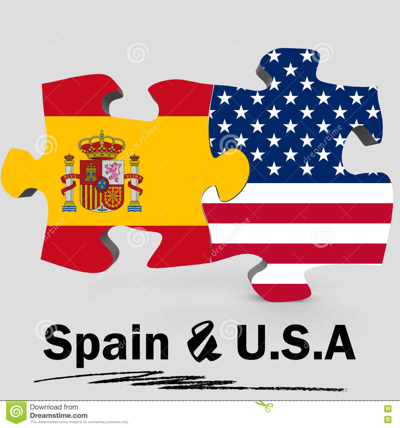 USA And Spain Flags In Puzzle Stock Illustration - Illustration of ...