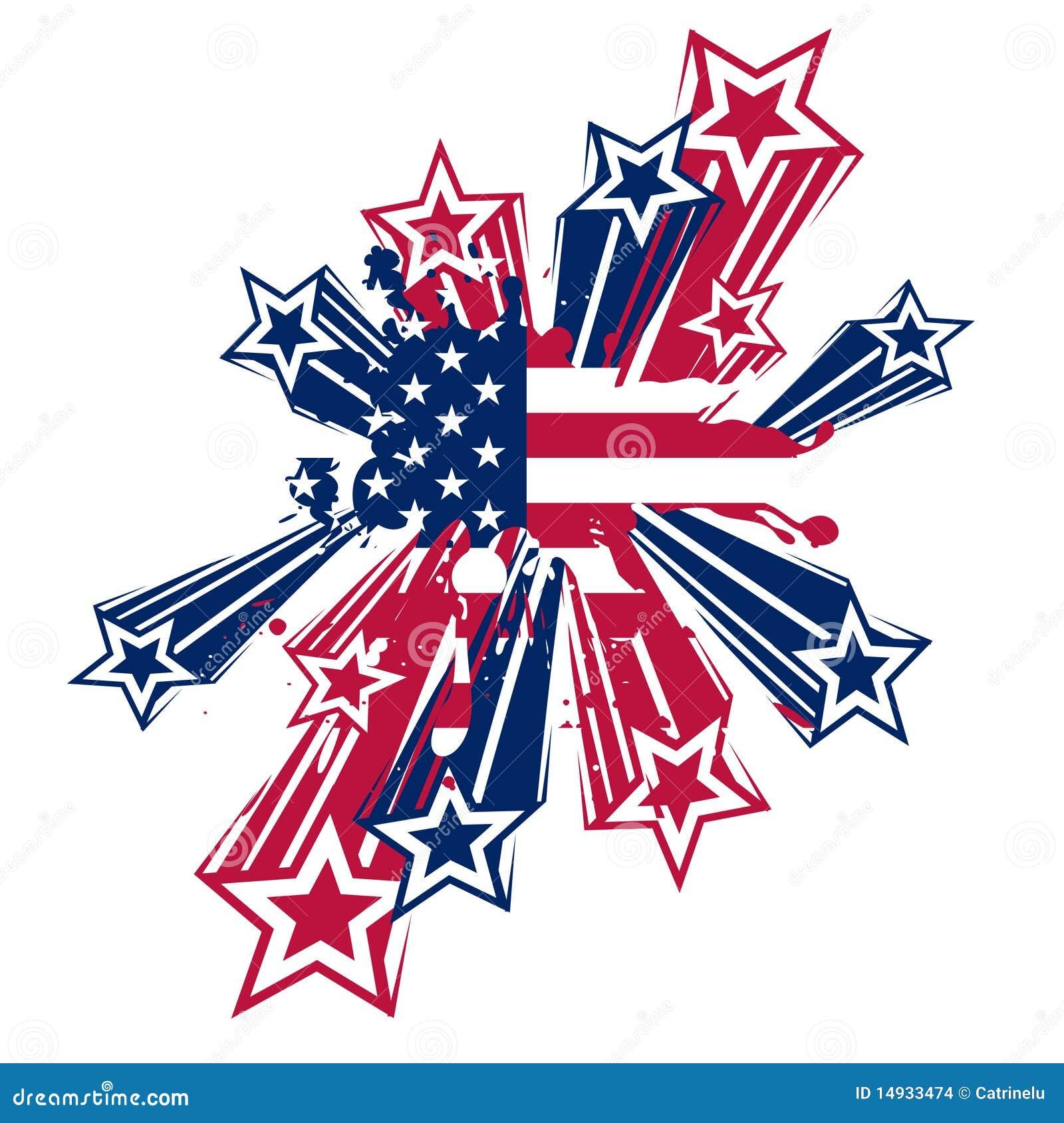 Usa Splash Flag With Stars Stock Images Image 14933474