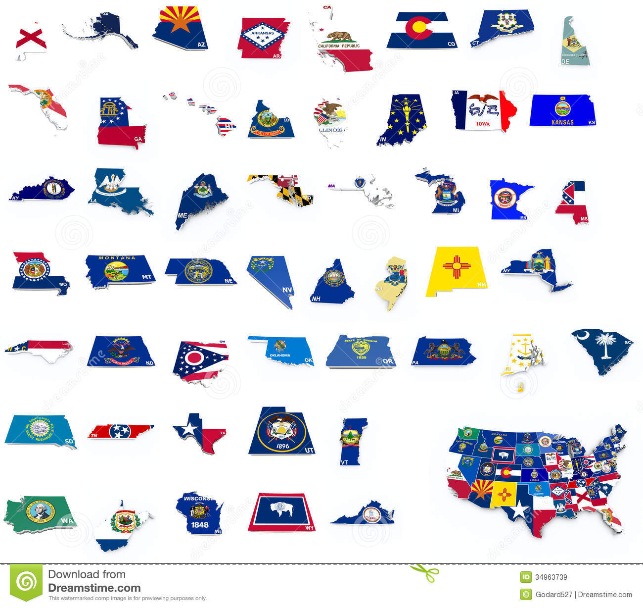 US State Flags Flags Of States Usa State Flags On D Map Stock - Map the us states