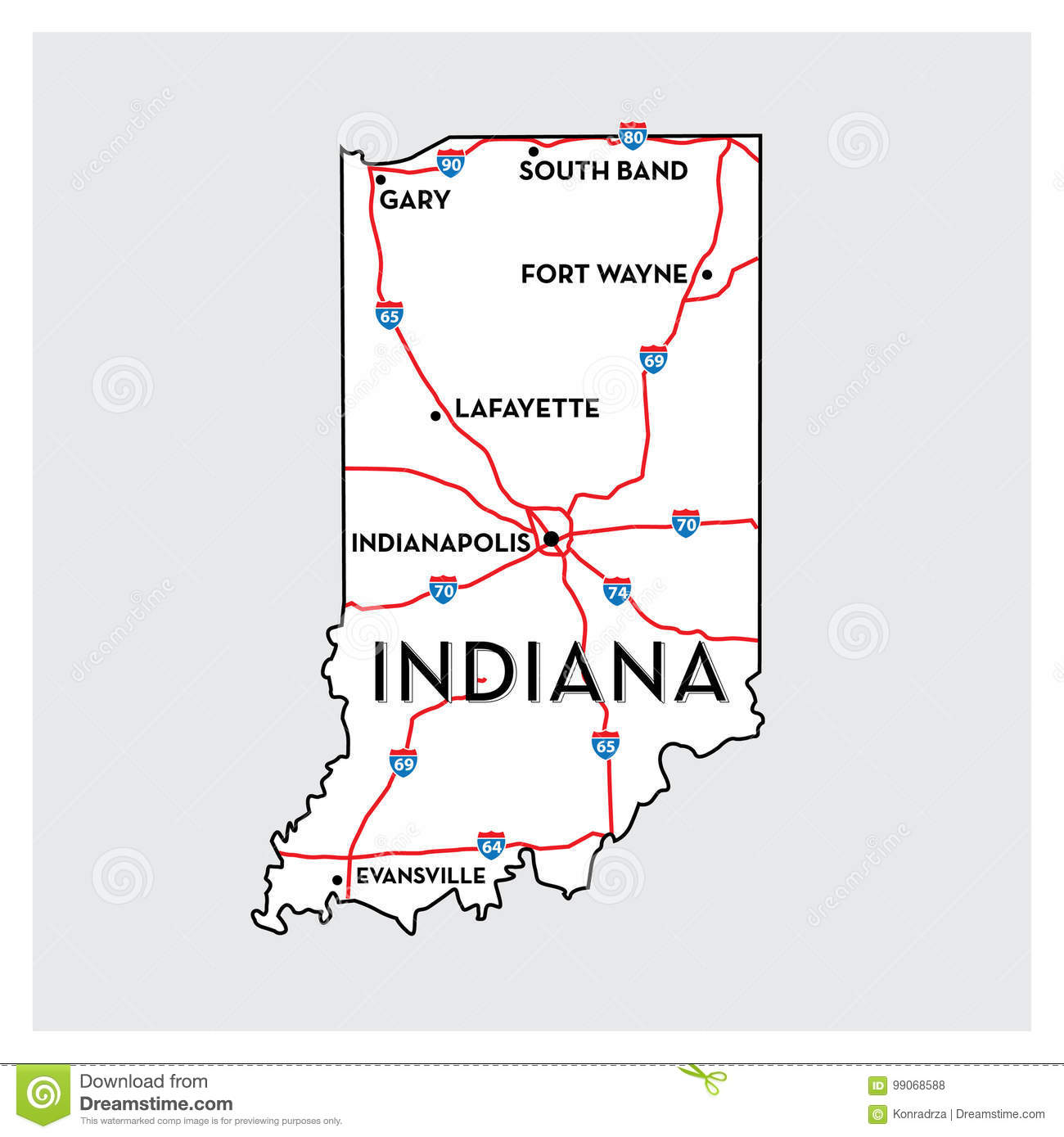 USA State map - INDIANA stock vector. Illustration of concept - 99068588