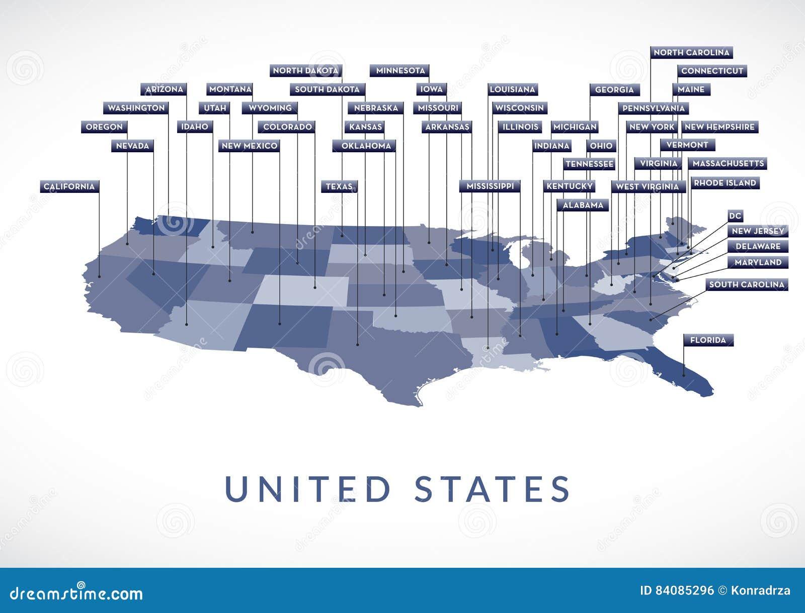 USA State map stock vector. Illustration of alabama ...