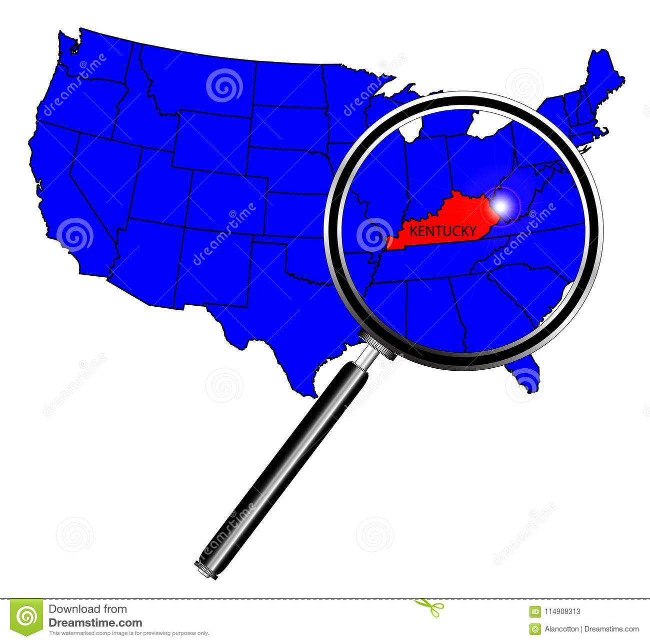 USA State Under A Magnifying Gl State Of Kentucky Stock Vector ... on elevation united states, latitude united states, region united states, longitude united states, culture united states, globe united states, continent united states, mountain united states, geography united states, climate united states,