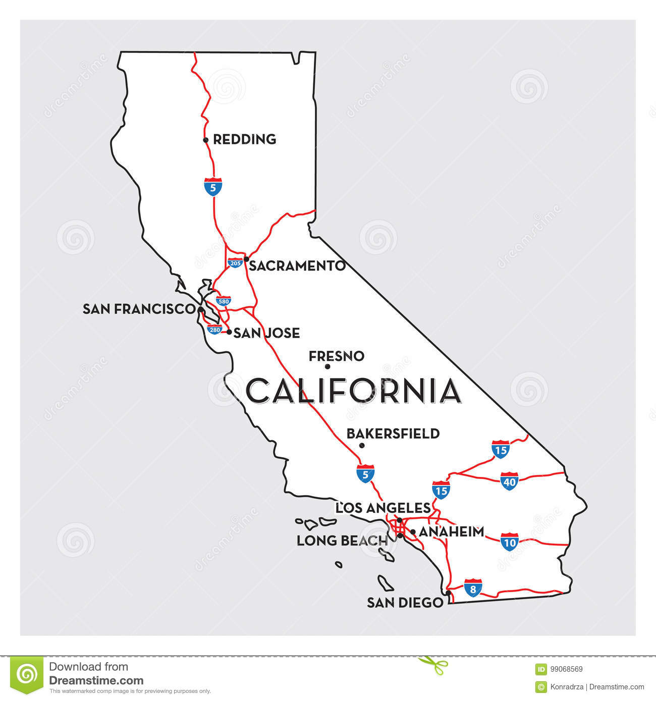 Map Of California Stock Vector Illustration Of Land 99068569