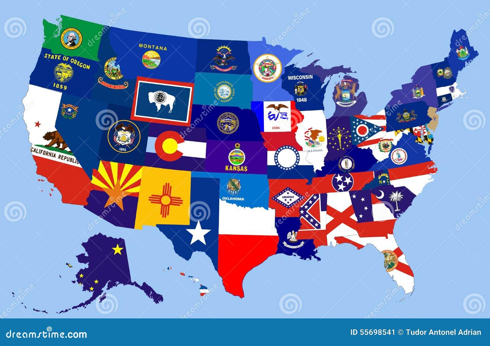 Usa States Flag Map Stock Illustration Image - Mapa usa states