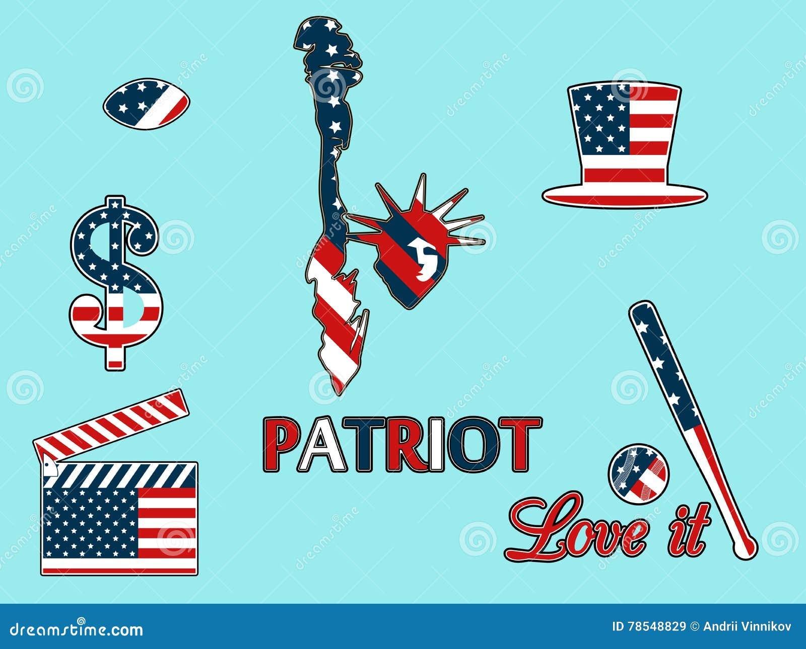 USA-symboler i de patriotiska färgerna av isolering på en blå backgr