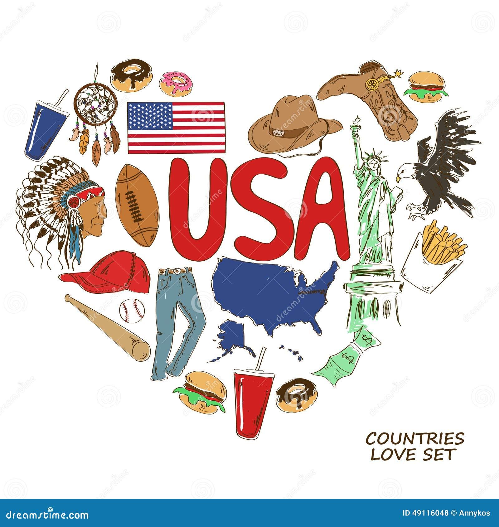 USA symboler i hjärtaformbegrepp