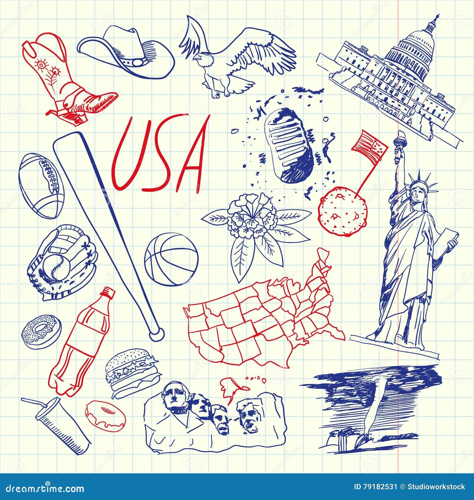Usa symbols pen drawn doodles vector collection stock vector usa symbols pen drawn doodles vector collection ccuart Choice Image
