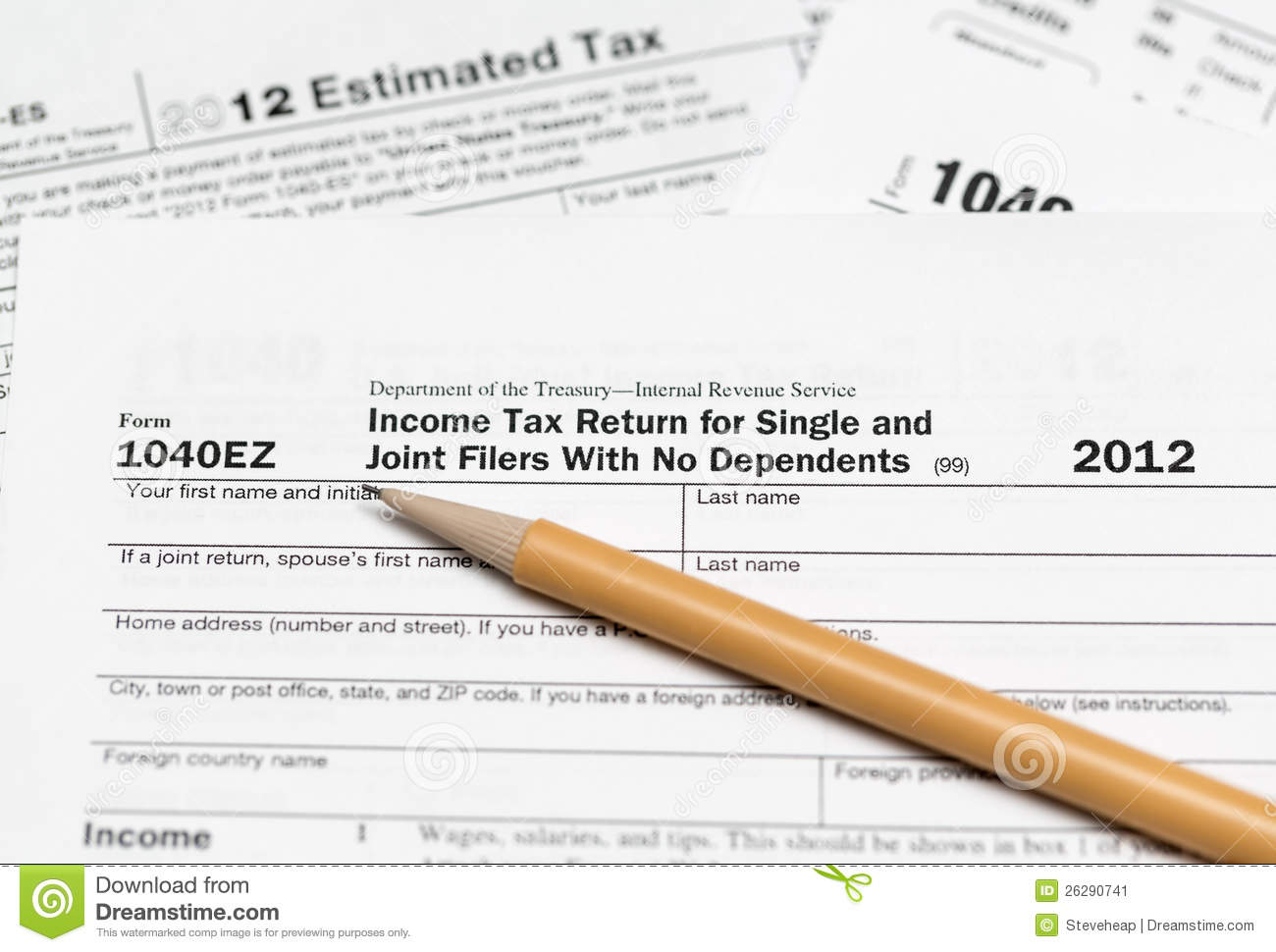 2012 Tax Forms 1040 Ez http://www.dreamstime.com/stock-image-usa-tax