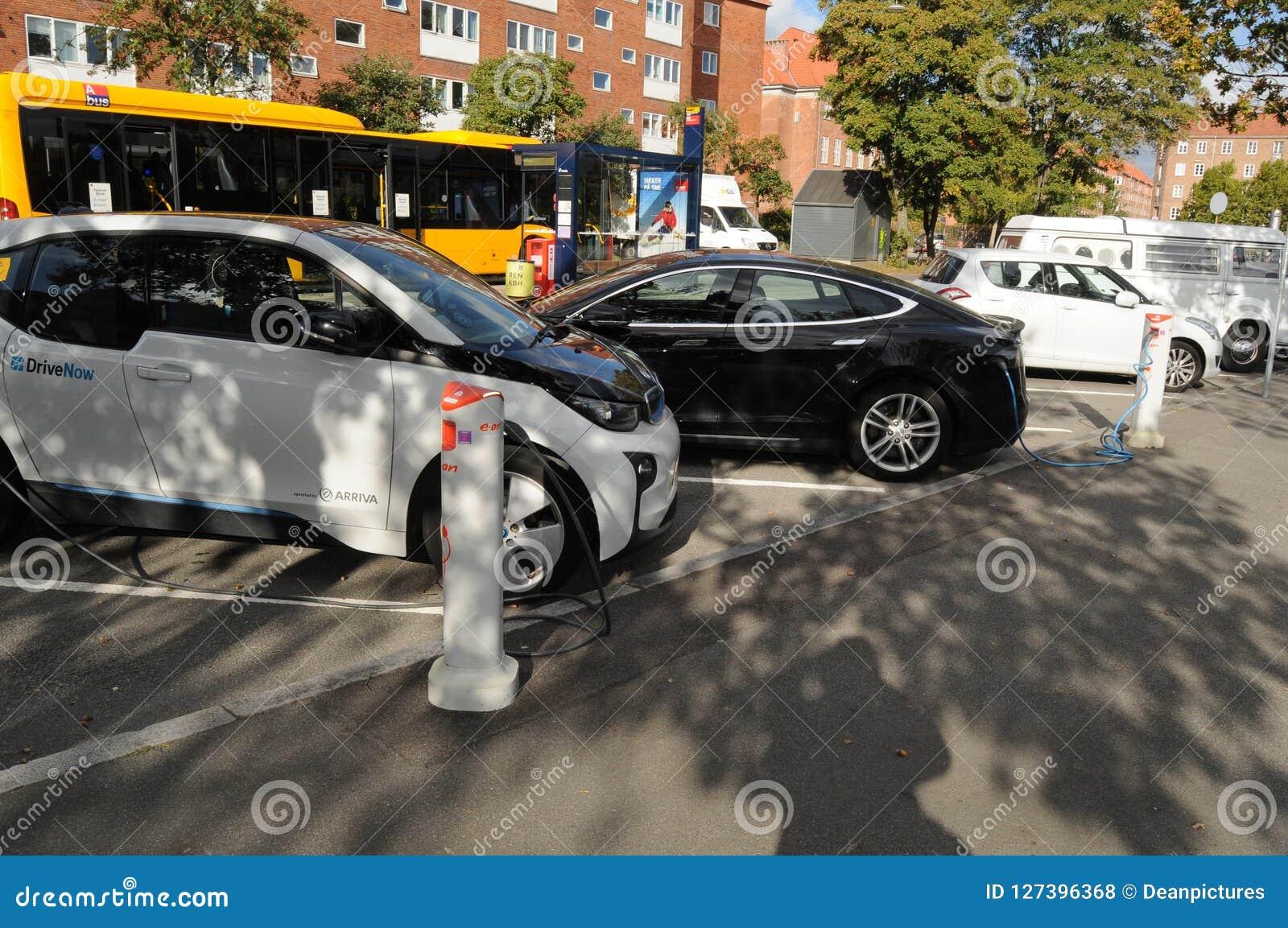 Usa Tesla Electric Car And German Bmw Electric Car Editorial Stock