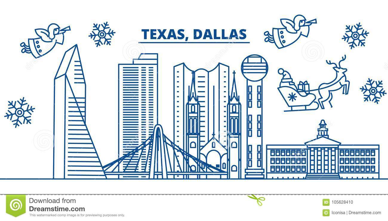 usa texas dallas winter city skyline merry christmas and happy new year decorated