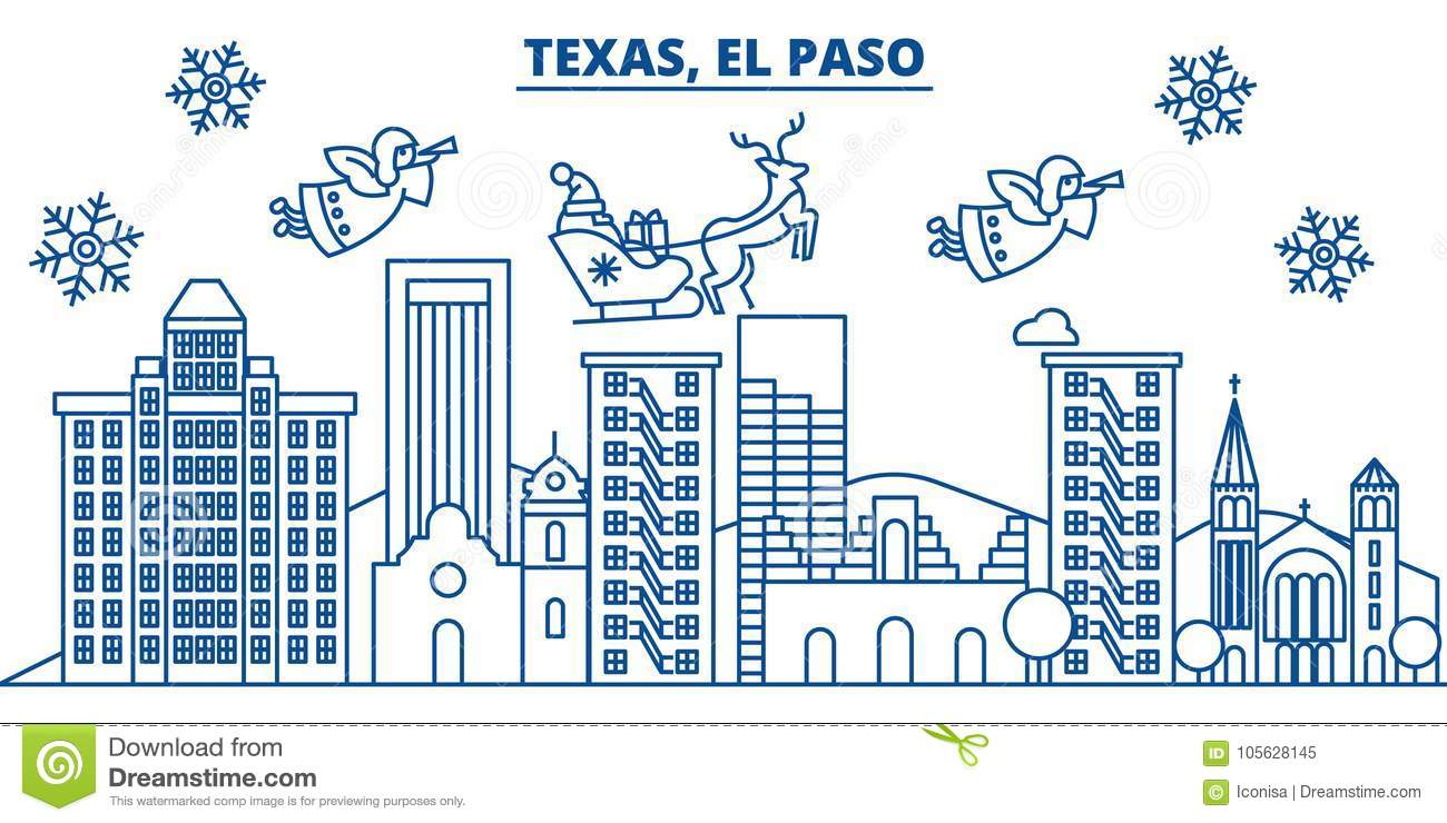 usa texas el paso winter city skyline merry christmas and happy new year