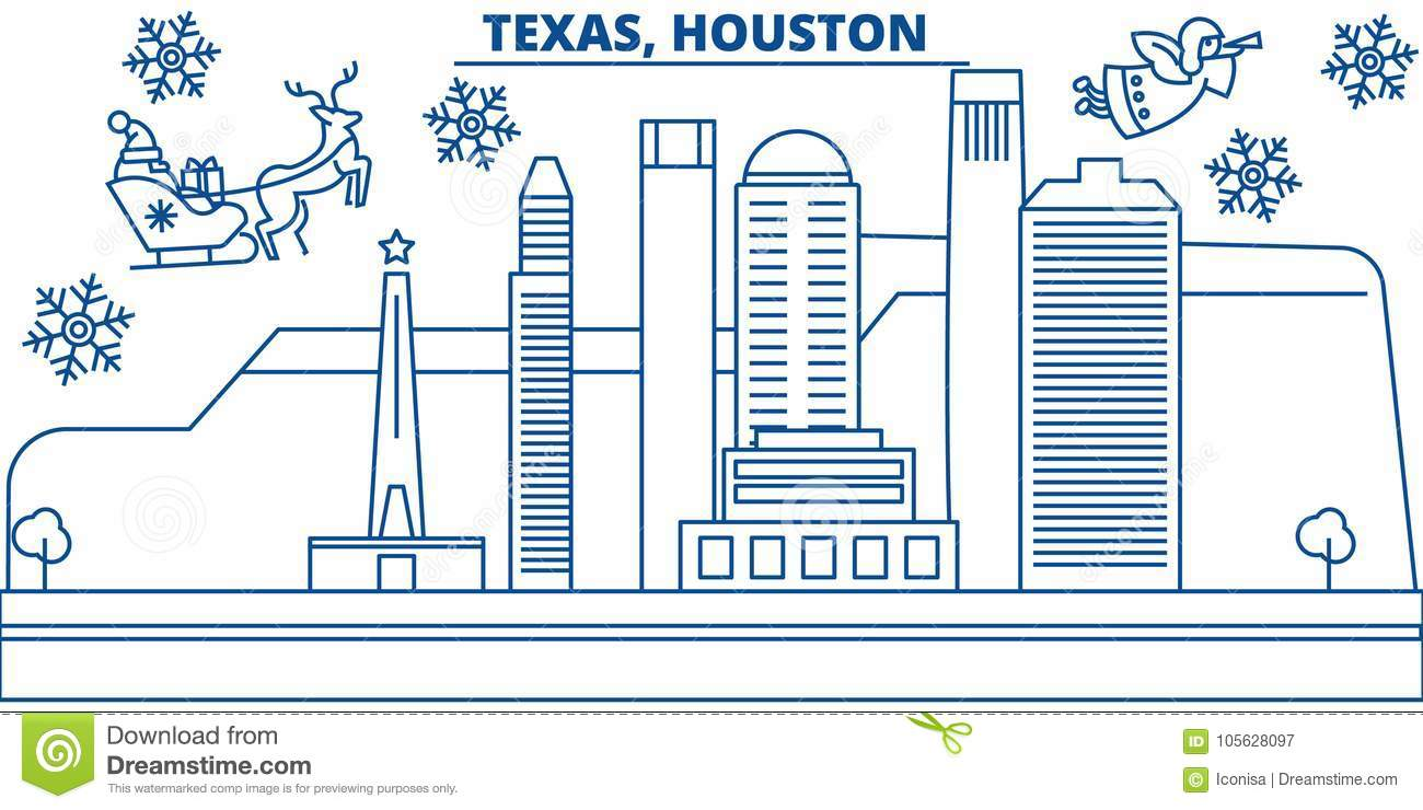 usa texas houston winter city skyline merry christmas and happy new year decorated