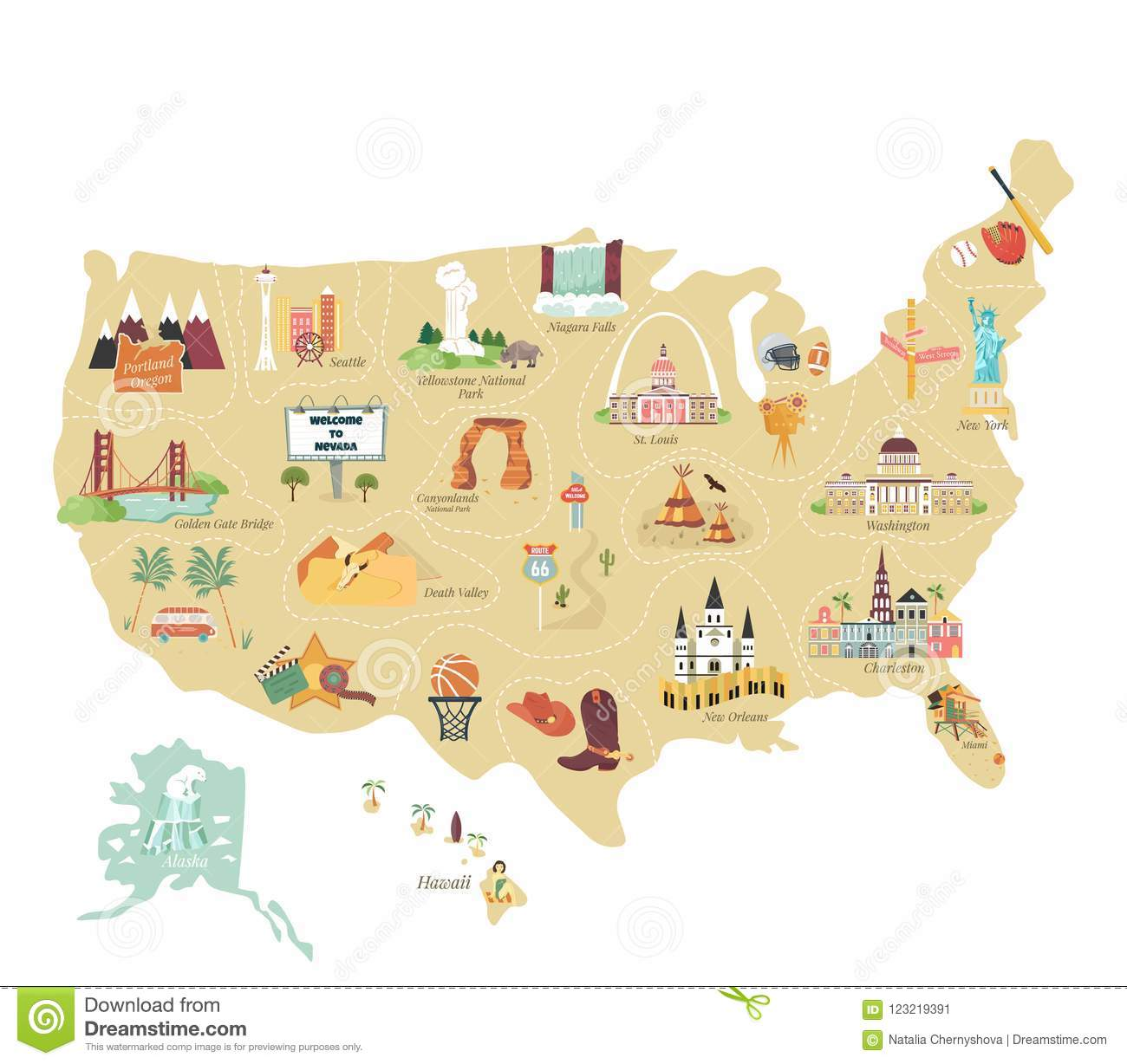 USA Tourist Vector Map With Famous Landmarks Stock Vector ... on