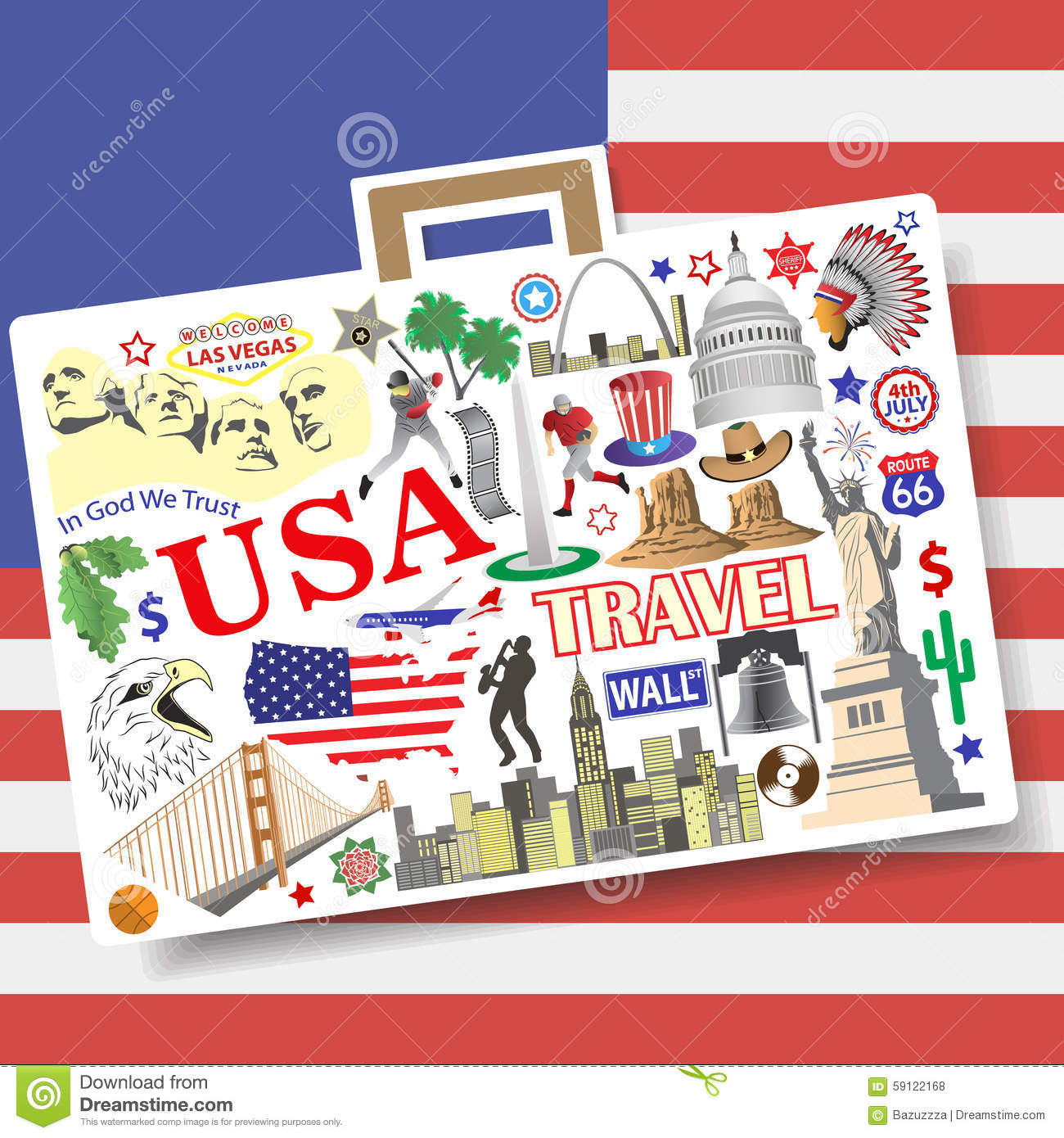 USA Travel Concept. Set Vector Icons And Symbols In Form