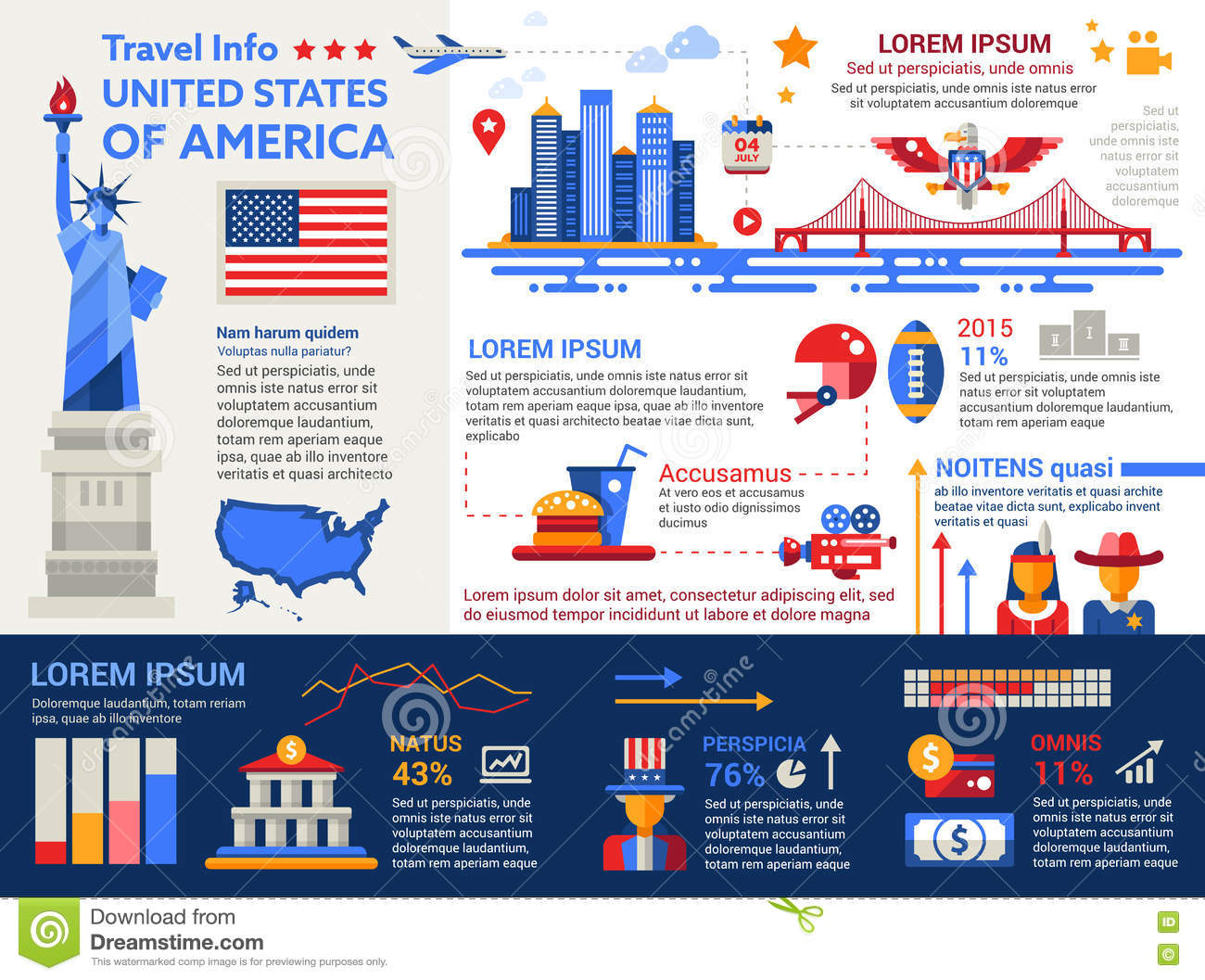 Usa travel info poster brochure cover template stock for America brochure template