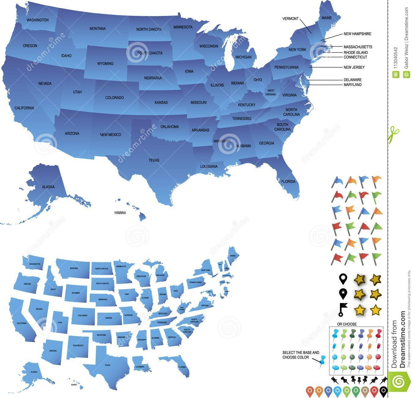 Map Of Usa With Pins.Usa Travel Map With States And Pins And Flags For Destinations Stock