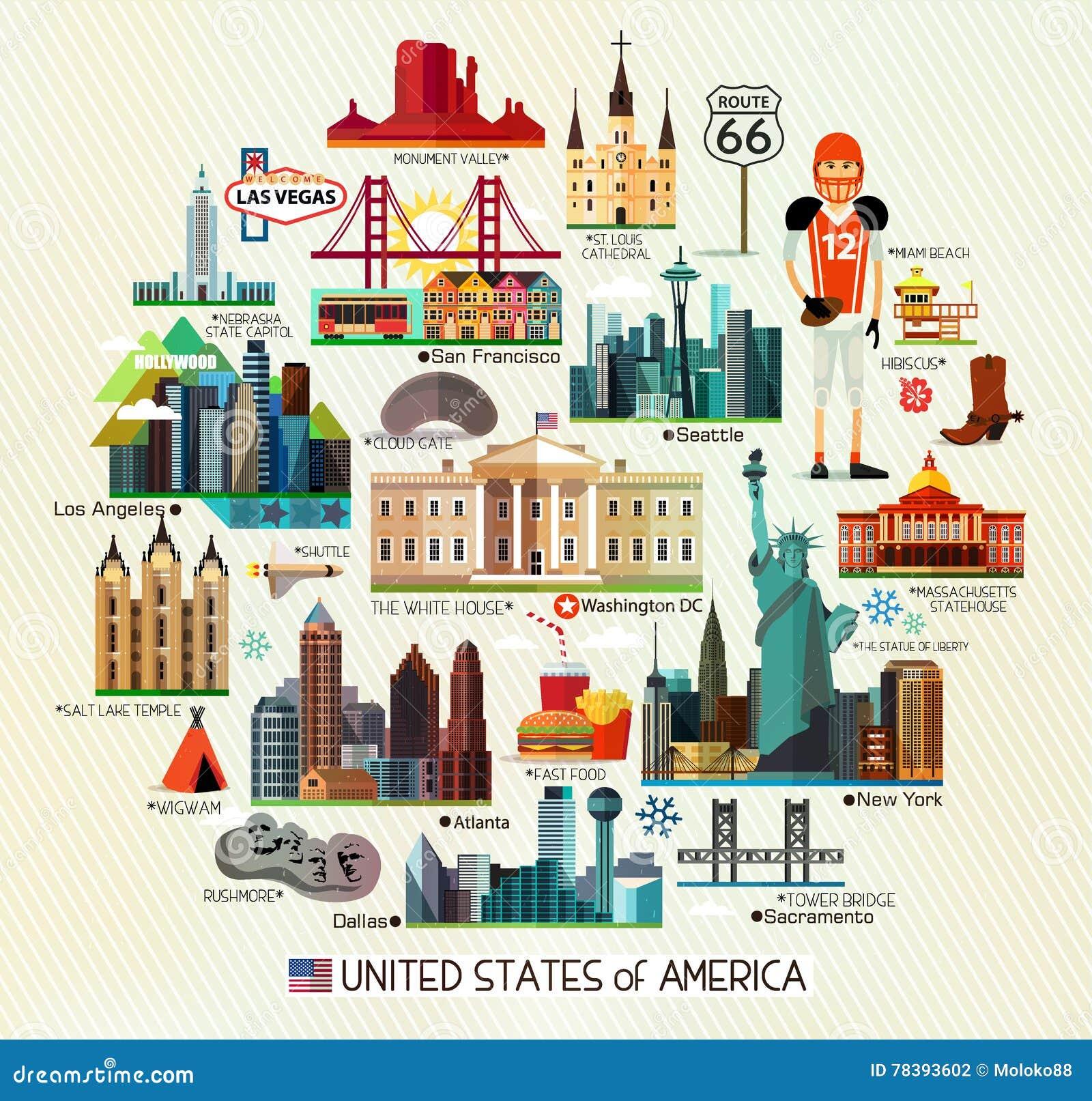 Usa Travel Map  Stock Vector  Illustration Of Beach