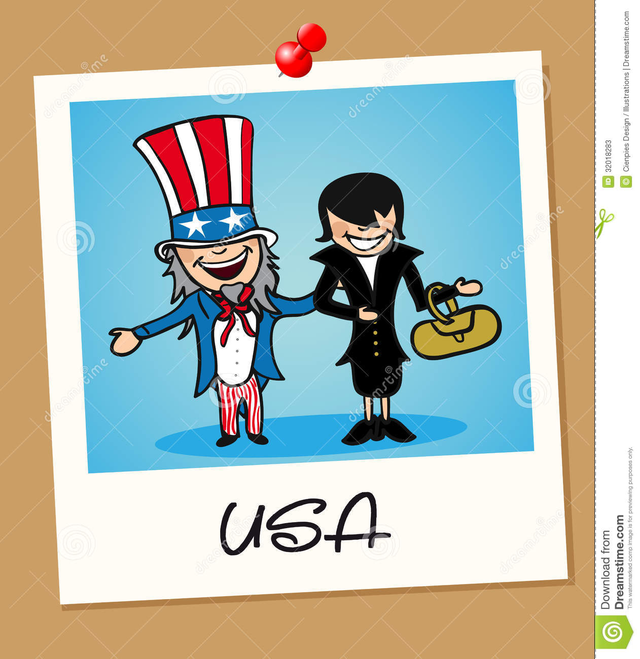 American man and woman cartoon couple in vintage instant photo frame ...