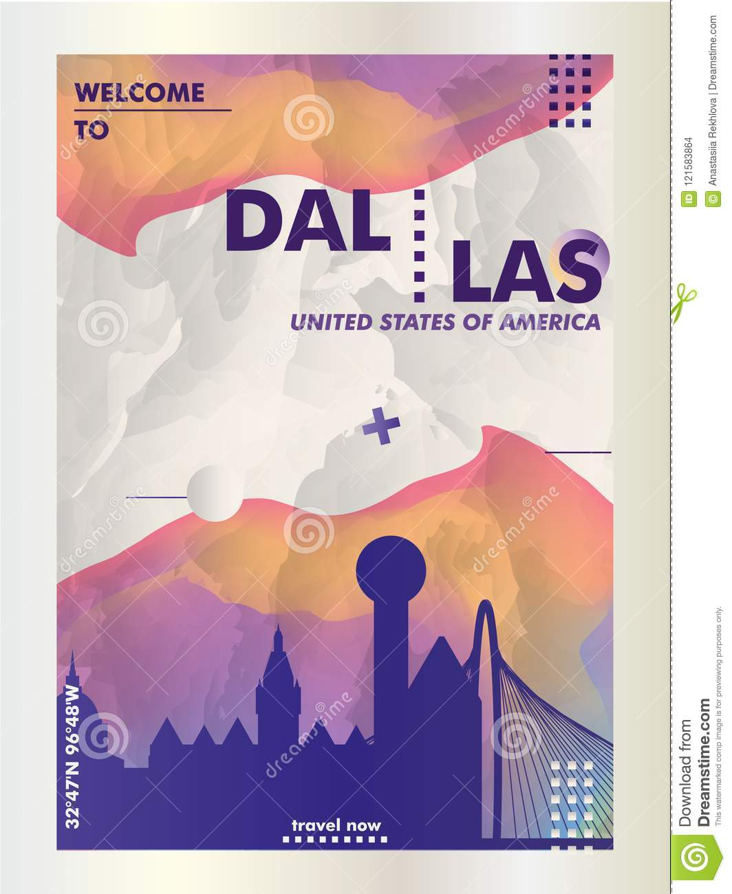 USA United States of America Dallas skyline city gradient vector
