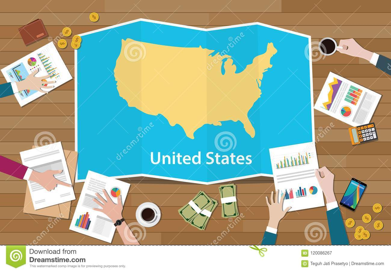 Usa United States Of America Economy Country Growth Nation Team Discuss With Fold Maps View From Top Stock Illustration Illustration Of Economy Design 120086267