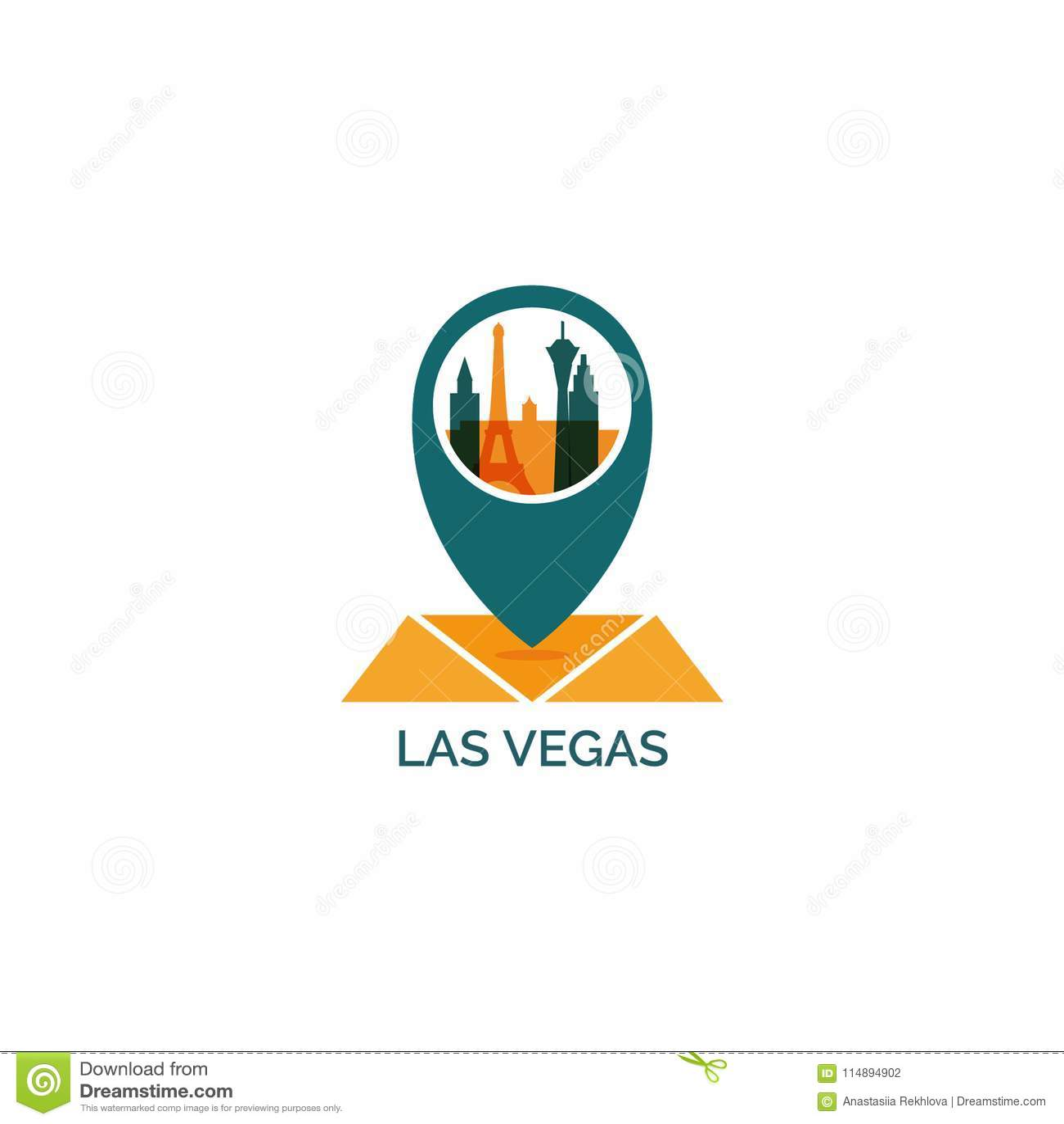 Las Vegas City Skyline Silhouette Vector Logo Illustration Stock ...