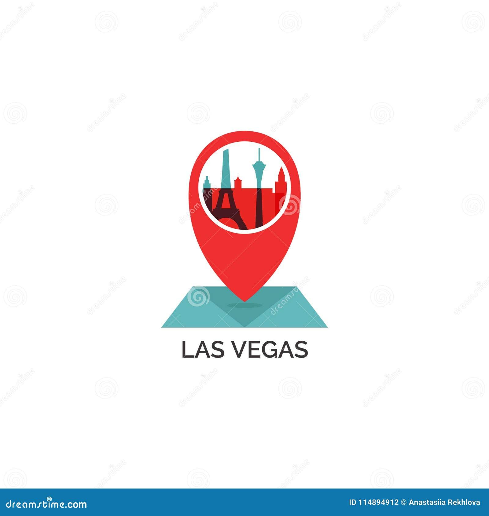 Las Vegas City Skyline Silhouette Vector Logo Illustration ...