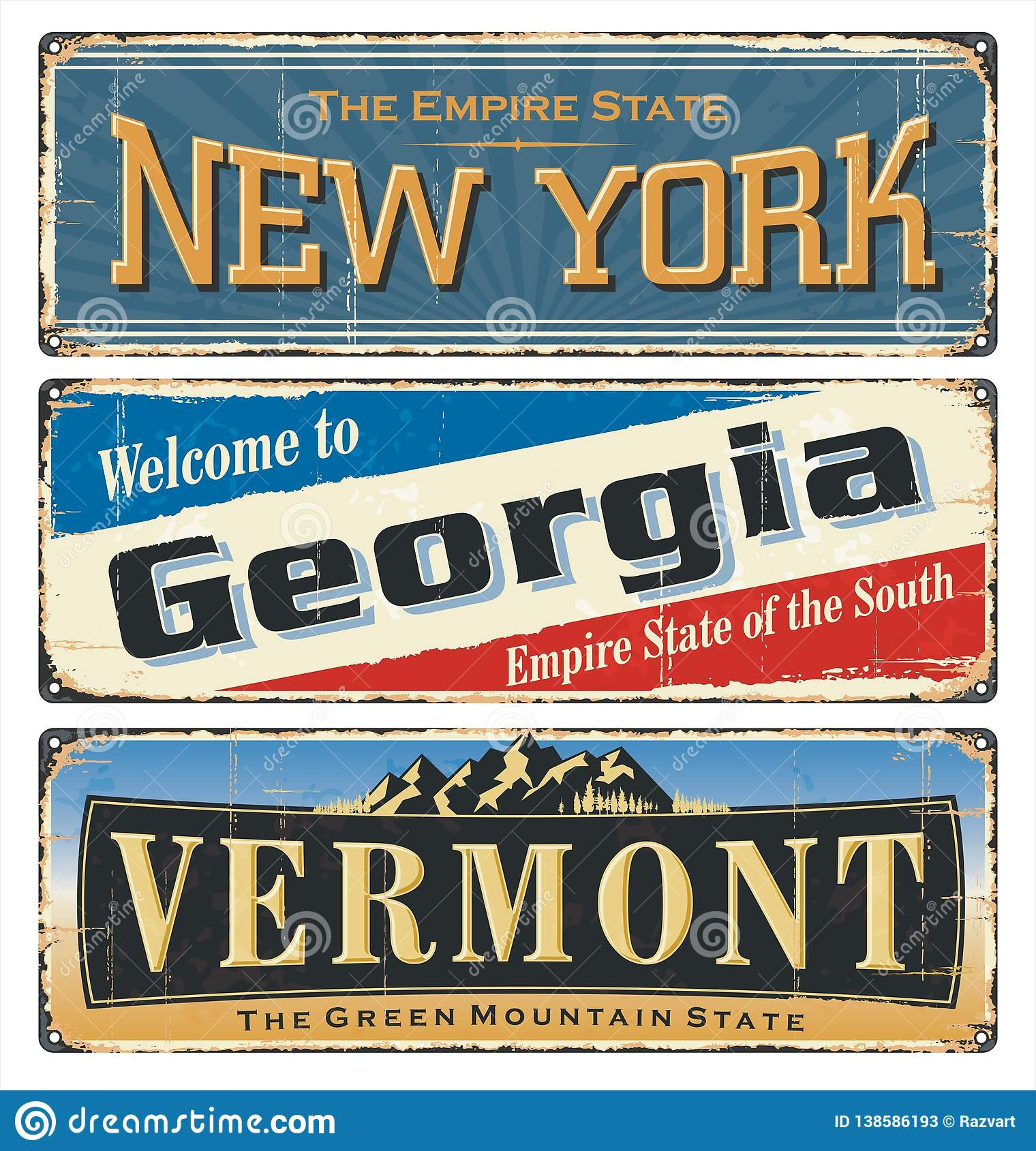 USA Vintage Tin Sign Collection With America State  All