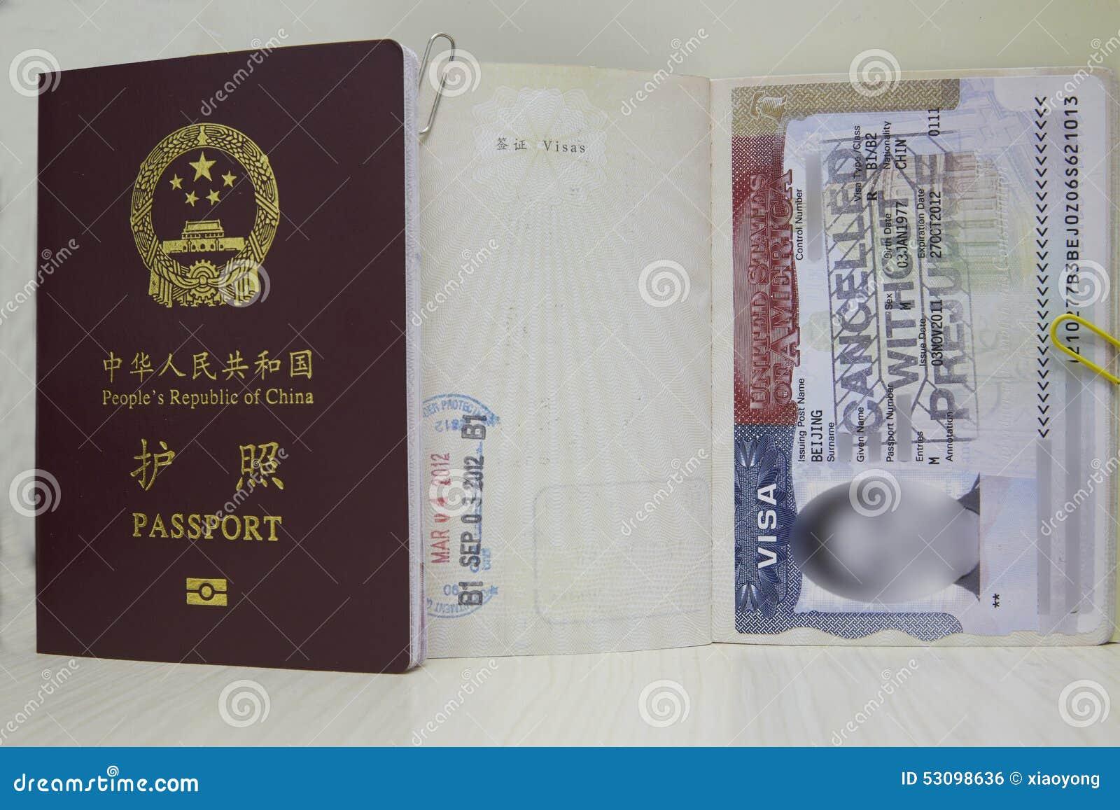 USA VISA And China Passport Stock Photo - Image of chinese