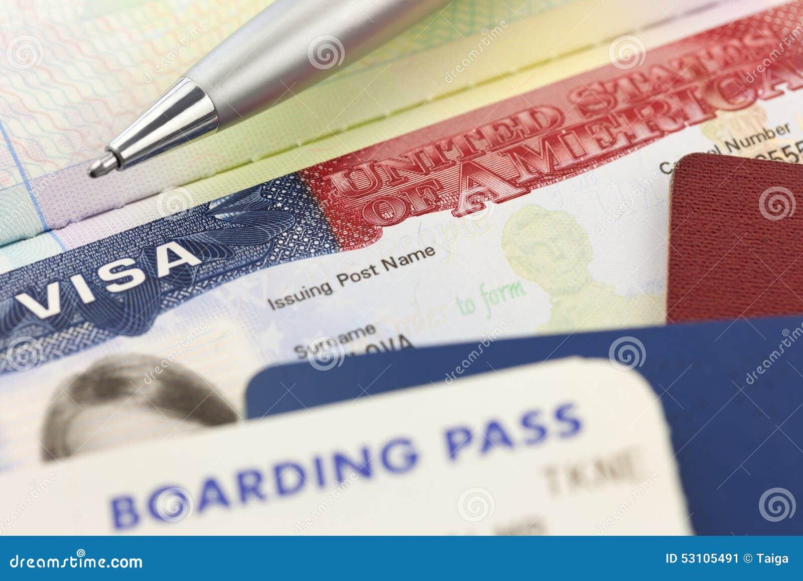 USA-Visum, Pässe, Bordkarte und Stift - Auslandsreisen