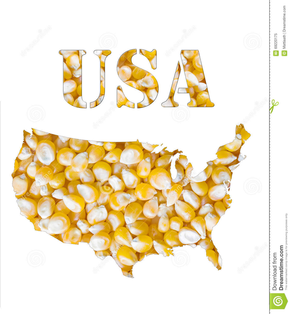 USA Word And Country Map Shaped With Corn Seeds Stock Photo - Usa country map outline