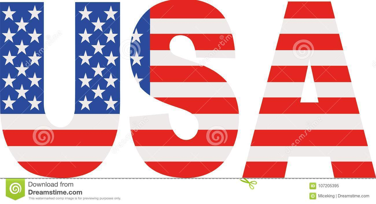 usa word with flag stock vector illustration of icon 107205395