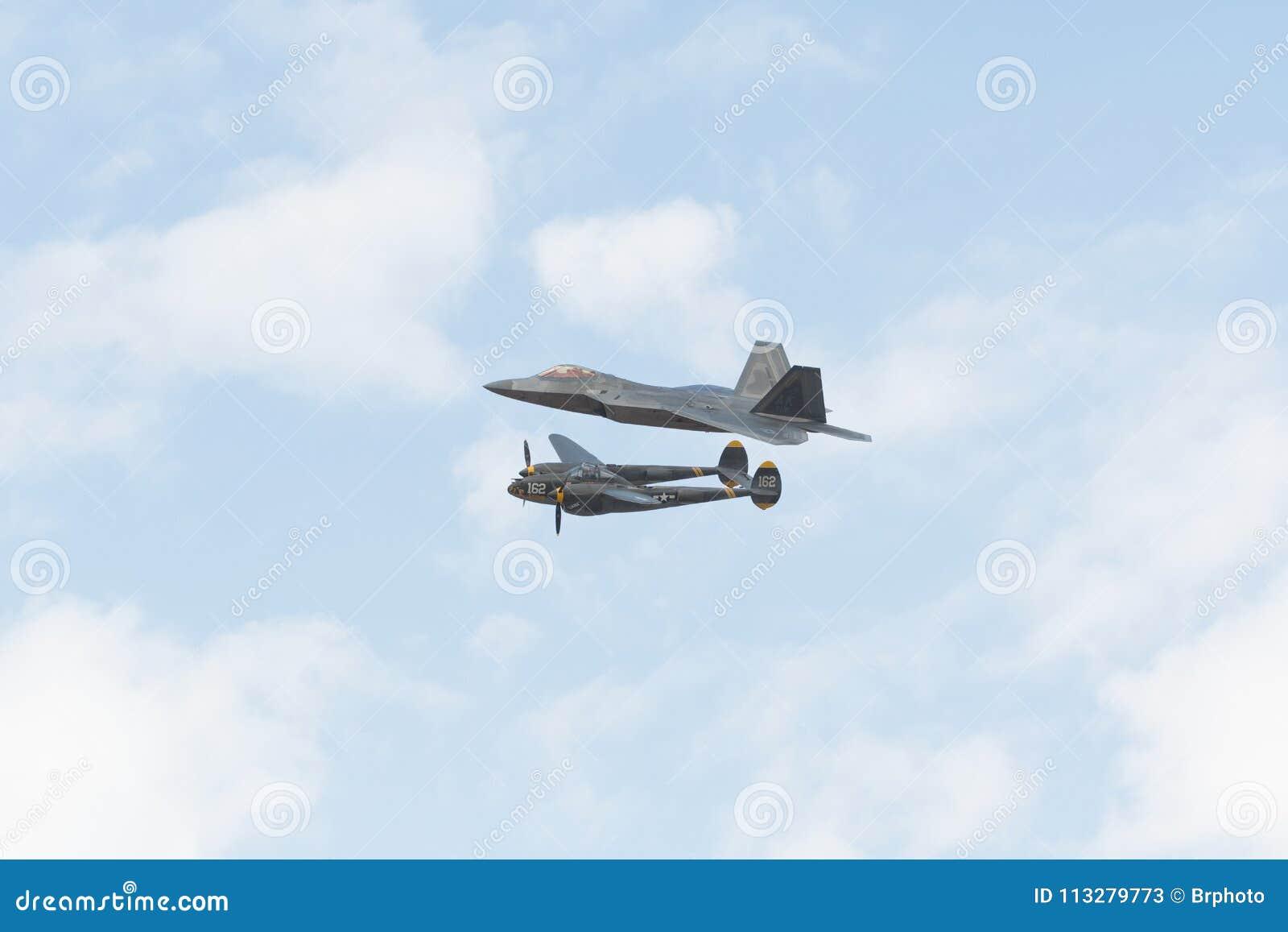 USAF F-22 Raptor And Lockheed P-38J Lightning Editorial