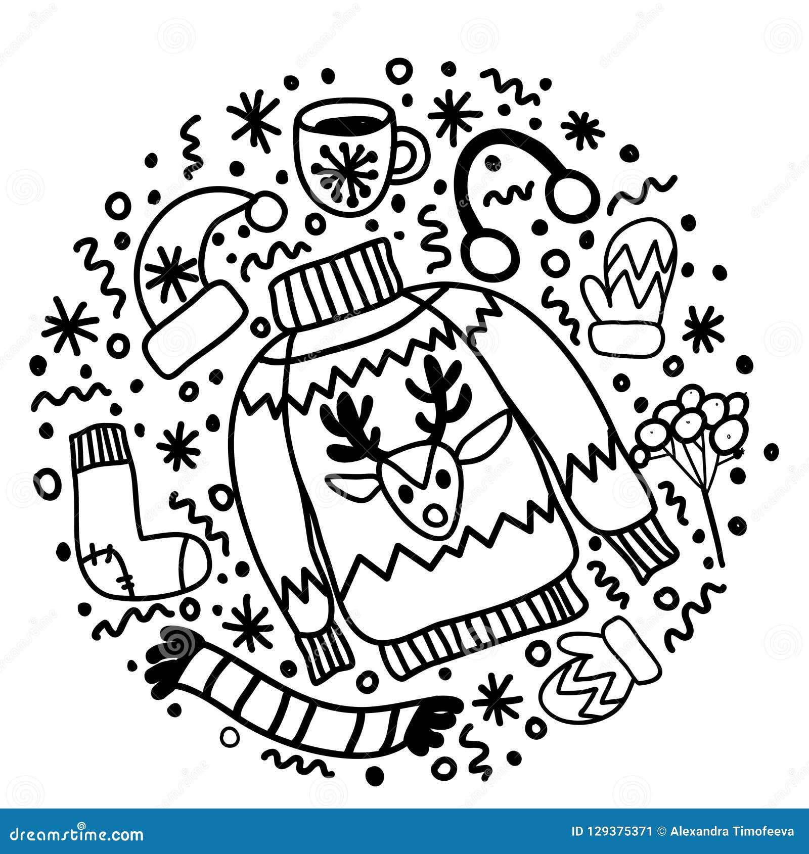 Usage Noir Et Blanc De Noël De Griffonnage Chaussette Pour