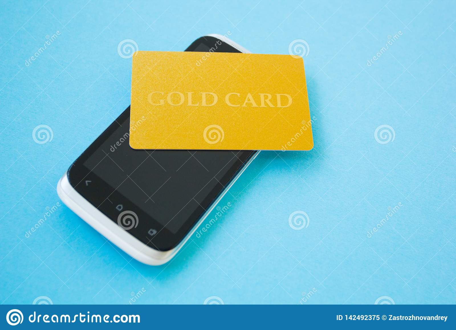 Usando o cartão de crédito e o smartphone para comprar em linha Conceito em linha da compra