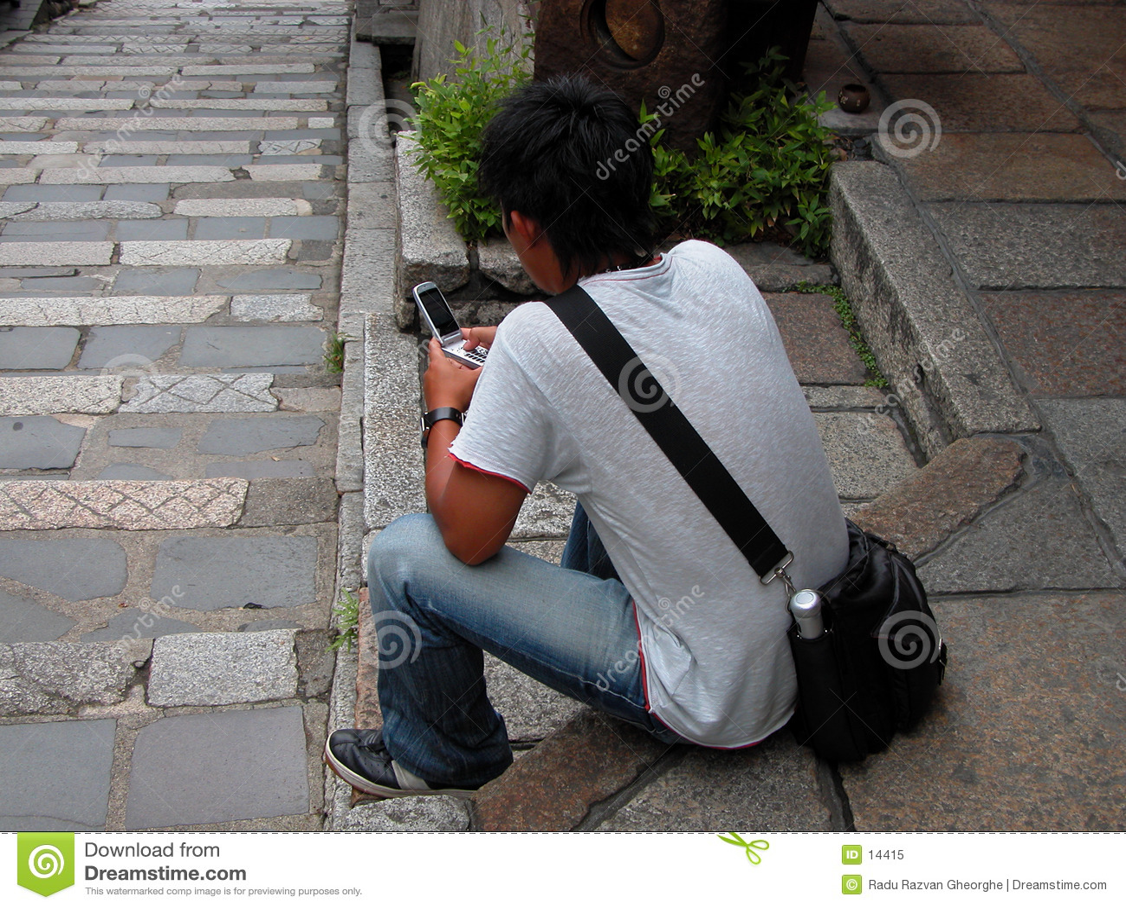 Usando um handyphone