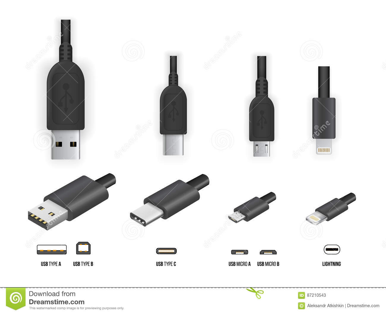 Types Of Computer Cords : Usb all type stock vector illustration of storage line
