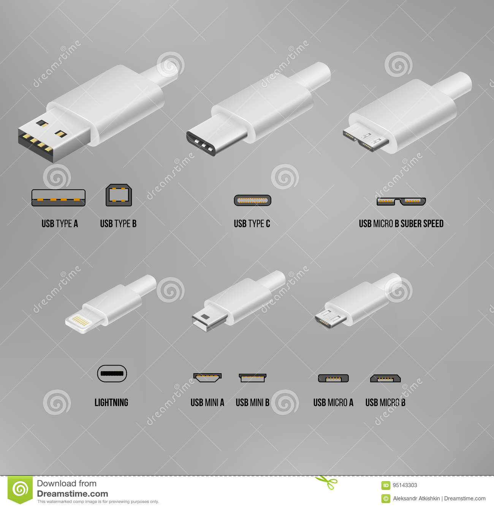 USB all type stock vector  Illustration of illustration