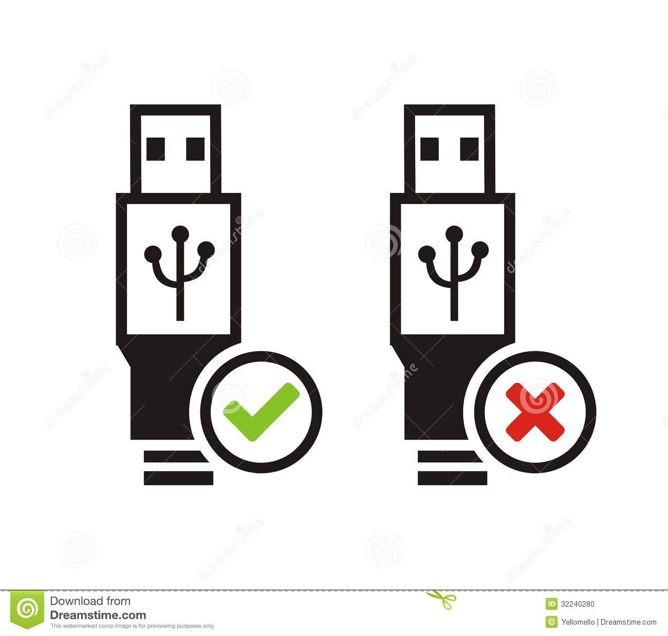 USB Available And USB Not Available Icons Stock Photo - Image ...