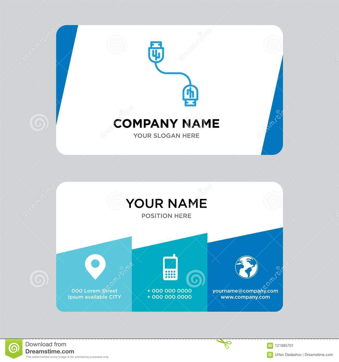 Usb Cable Business Card Design Template Visiting For Your Company