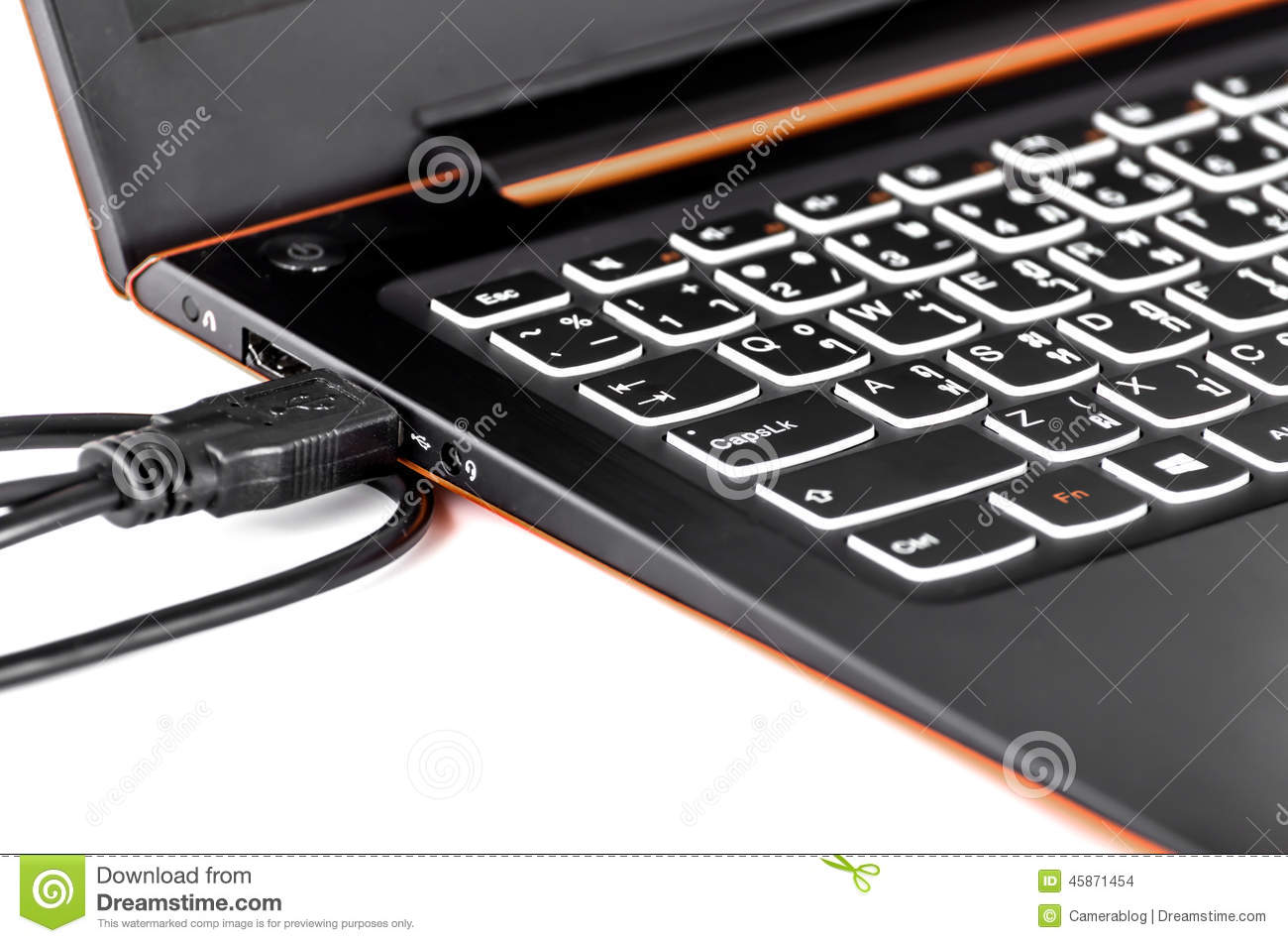 USB cable port attach on computer notebook