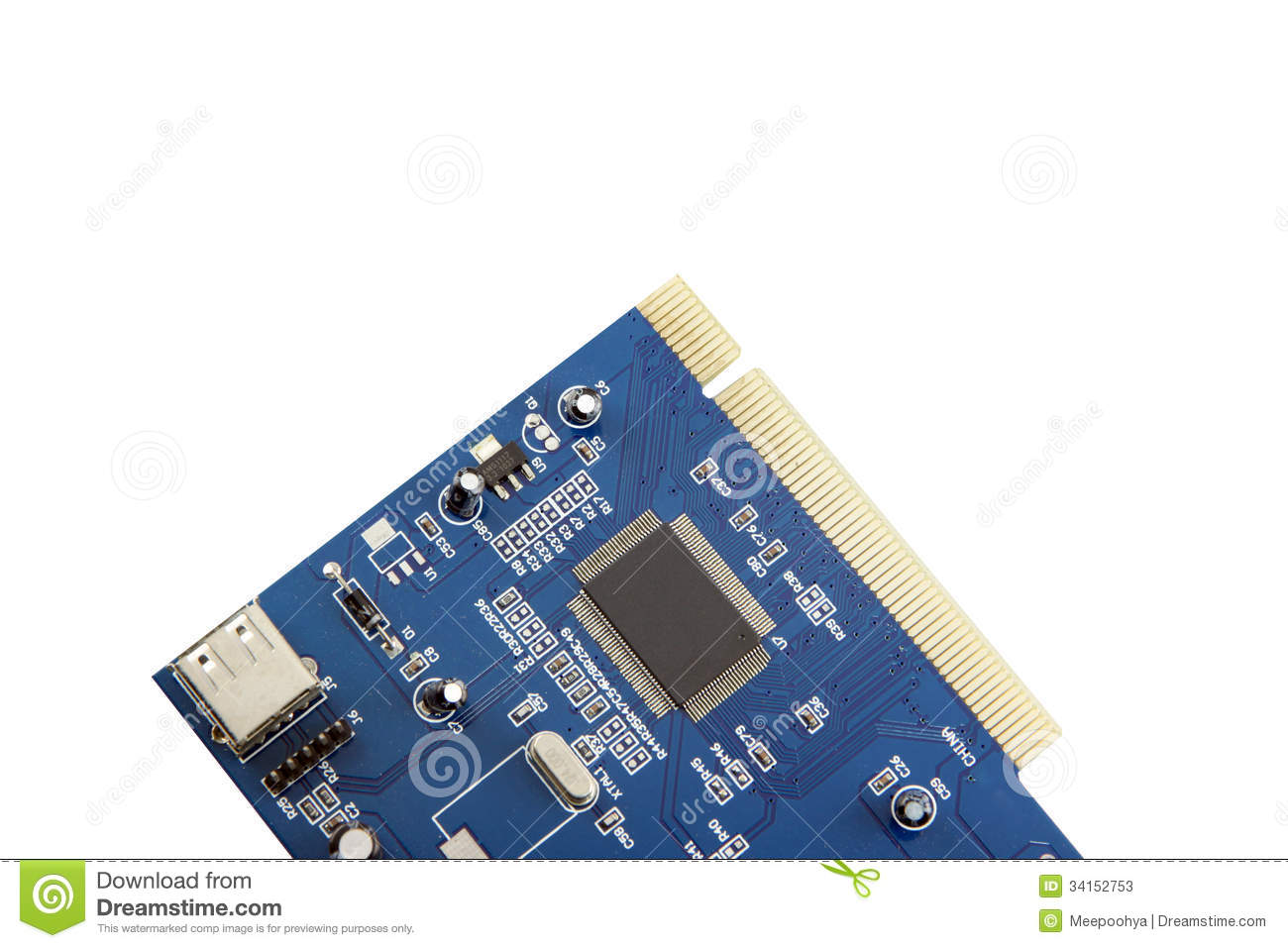 Usb Card Computer Equipment Circuit Board Stock Image Of Closeup The Picture Blue