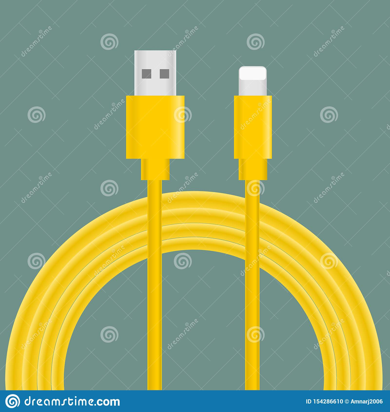 USB charging cable vector