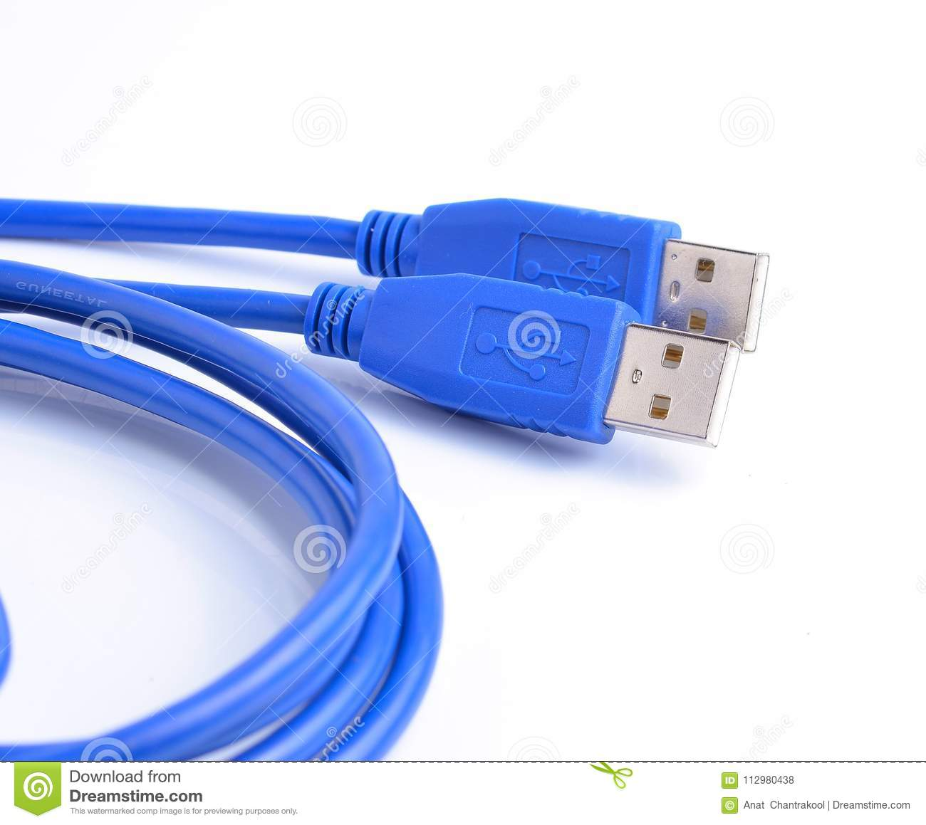 USB connector against white background