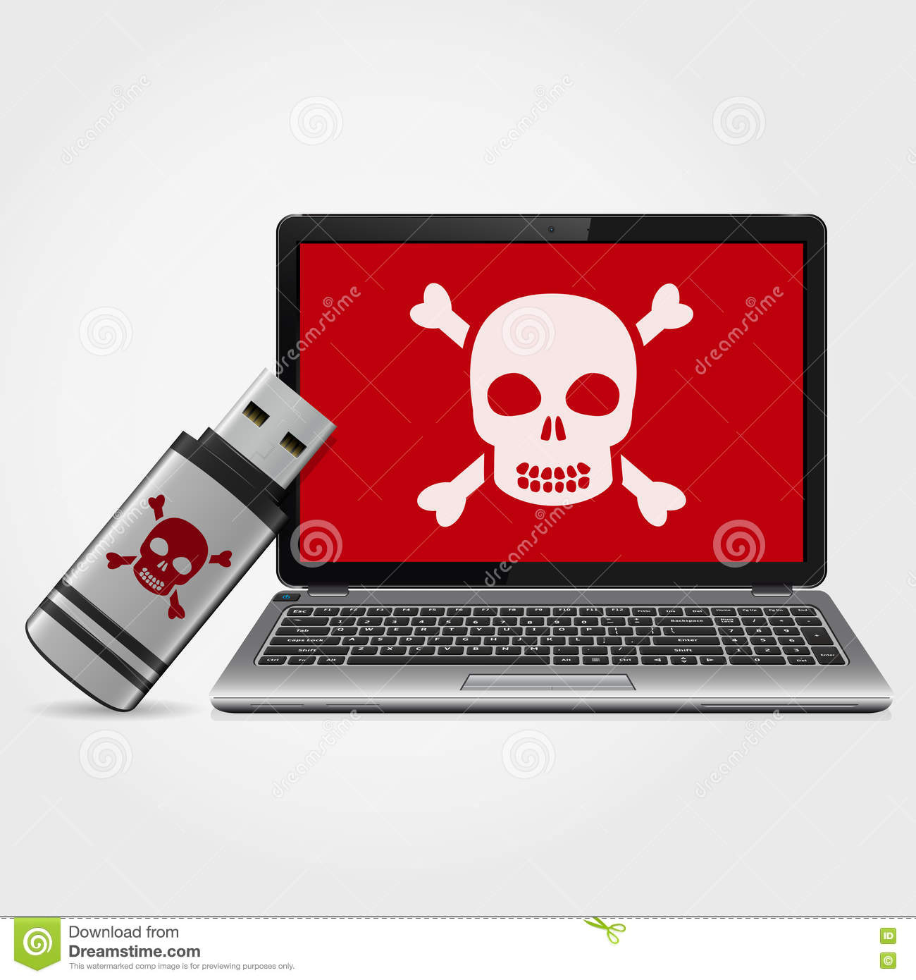 Usb Flash Drive With Laptop Infected Malware Stock Vector