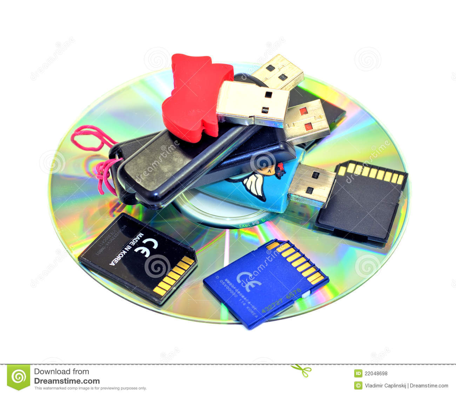 Usb Flash Drives Sd Cards Cdrom Stock Photo Image