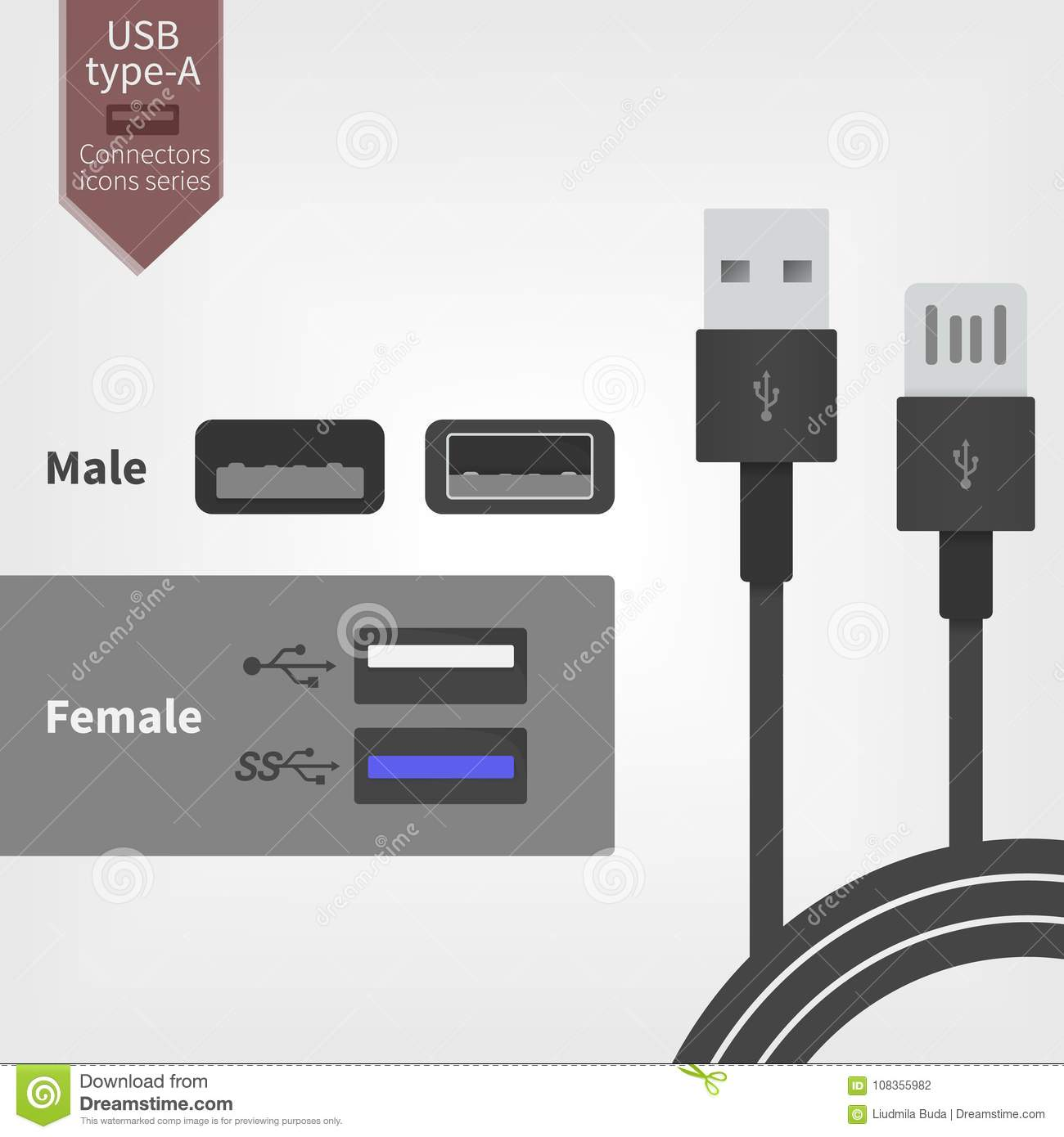 Miraculous Usb Socket Outlet And Connector Wires Vector Illustration In Flat Wiring 101 Akebretraxxcnl